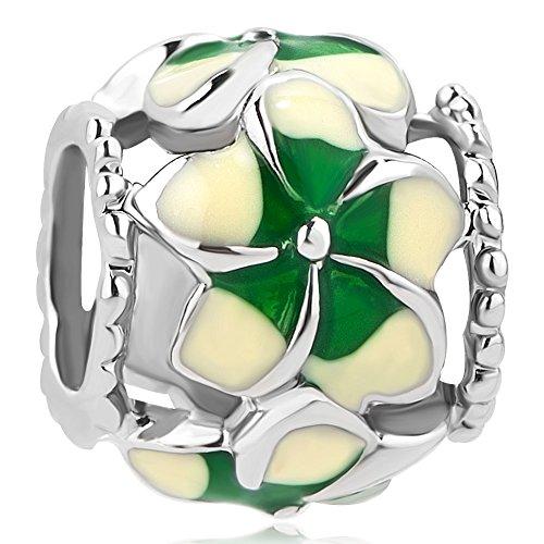CharmSStory Filigree Orchid Flower Love Enamel Charm Beads Charms for Bracelets (Green)
