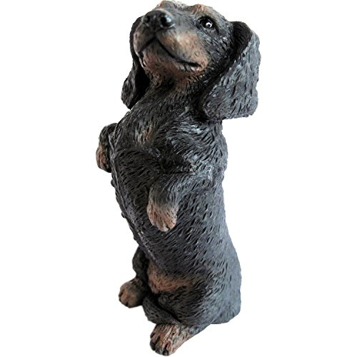 Sandicast Sculpture, Small, Sitting Pretty Black Dachshund