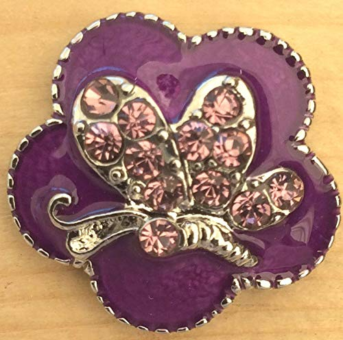 Snap Chunk Button Purple Butterfly Charm for Ginger Snap Style Jewelry SE-1154