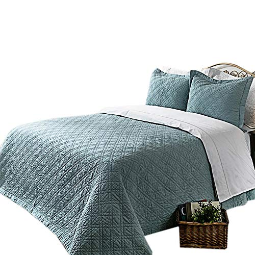 Elegant Life Super Soft Solid Queen Quilt, Minimal Linen &Cotton Bed Quilts for All-season (90