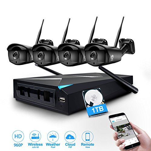 Wireless Camera System, JOOAN TC-734-4N 960P Wireless Security CCTV Surveillance Systems With 4X1.3MP IP Camera 4CH NVR Plug and Play...