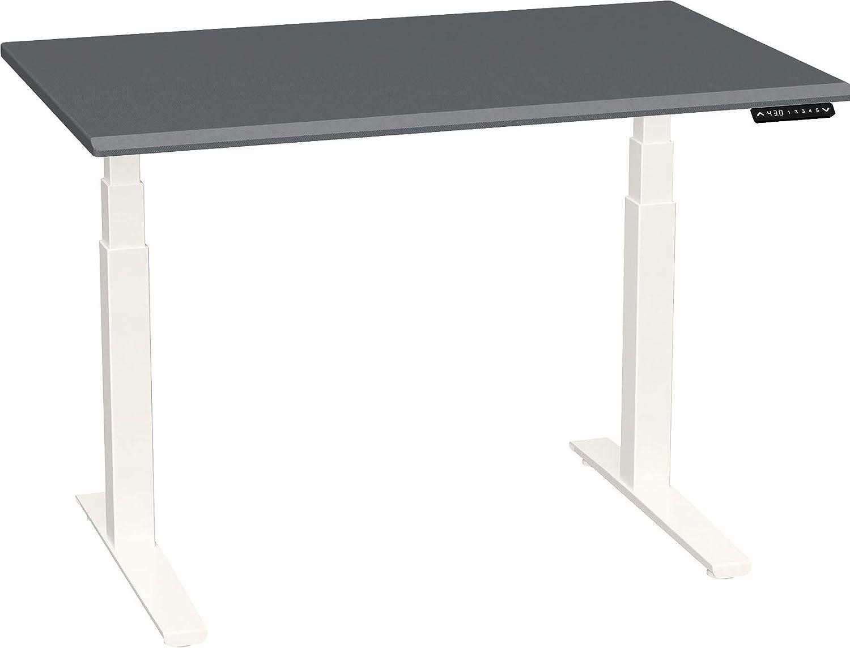 SmartMoves by Howard Miller Dual Motor Electric Adjustable Height Desk with Beveled Desktop (48 in Width, Carbon Fiber Desktop/Crystal White Base)