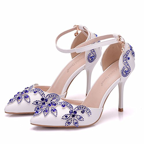 Blue Azul Tacón Sandalias Zapatos Boda Mujer Señaló Strass De wq68Z8x4
