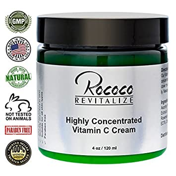 Highly Concentrated Vitamin C Cream with Ester C for Face Skin Minimizes Dark Spots and Works As Moisturizer Lotion Too – 120ml 4oz