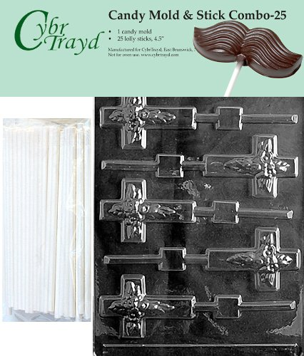 Cybrtrayd Cross Lolly Chocolate Candy Mold with 25 4.5-Inch Lollipop Sticks and Exclusive Cybrtrayd Copyrighted Chocolate Molding Instructions