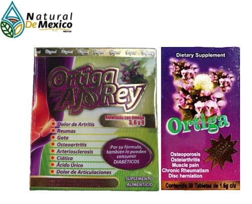 Natural de Mexico Ortiga AJO Rey Omega 3, 5 9 Dietary Supplement Original