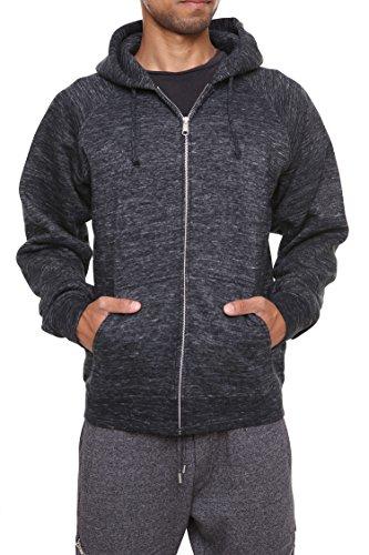 - FORBIDEFENSE Men's Sweatshirt Hoodies Full Sleeve-Front Zip Premium Hood 2 Split Pocket Mixed Black Melange X-Large
