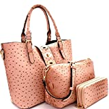 Le Miel 3pc Ostrich Embossed Set- Bucket Tote w/Strap + Crossbody + Wallet (Blush)