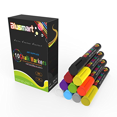Chalk Markers, Blusmart 10pcs Bright Liquid Glass Window Pens with 40pcs Chalkboard Labels, Wet Wipe Erasable, 6mm Reversible Tips, Children Friendly Photo #3