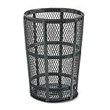 48-Gal Steel Street Basket Waste Round Receptacle