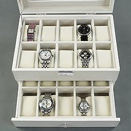 SONGMICS 20 Watch Box Lockable Organizer Display Case with Glass Top White UJWB201