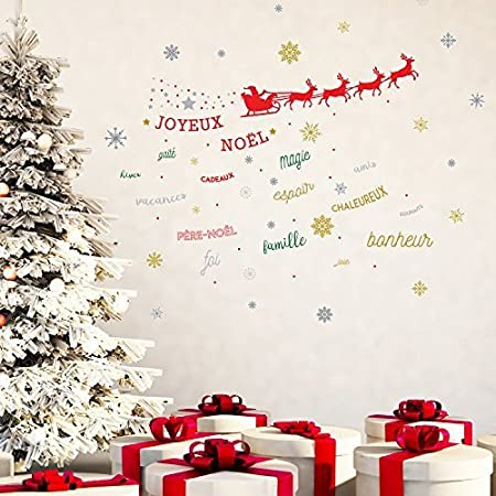 wallflexi christmas decorations wall stickers christmas reindeer with french quotes wall murals - Christmas Decoration Quotes