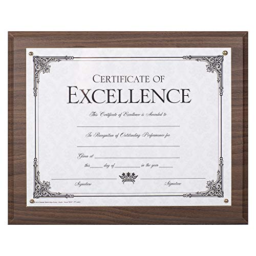 Dax 8.5 x 11 Walnut Certificate Award Plaque Board Slide In with Plexi Glass ()