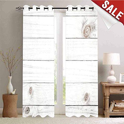 Hengshu Window Curtain Fabric Wooden Planks Horizontal Lined Rustic Timber Soft Tone Oak Background House Image Drapes for Living Room W96 x L108 Inch White