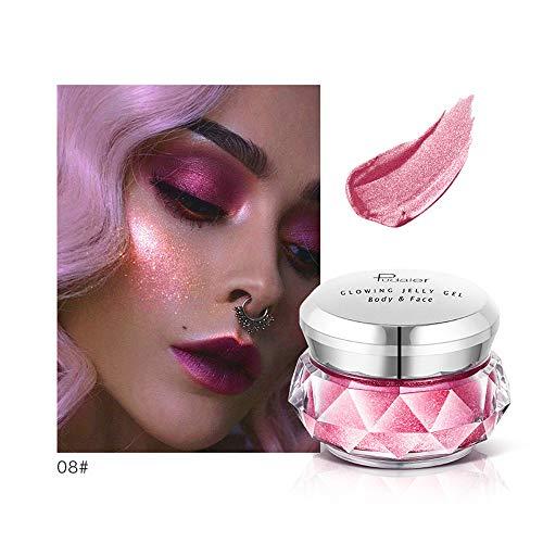 (Jonerytime8 Colors Jelly Gel Highlighter Make Up Concealer Shimmer Face Glow Eyeshadow Highlighter Cream (H))