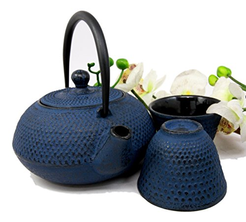 Atlantic Collectibles Japanese Imperial Dots Blue Cast Iron Teapot Set With Trivet and Cups Serves 2 People Asian Home Decor Tea -
