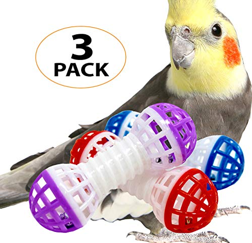 Bonka Bird Toys 1308 Three Dumbbell Foot Toys Parrot cage Bell Conure Parakeet Budgie chew feet Play Fun Training Accessories Balance Supplies from Bonka Bird Toys