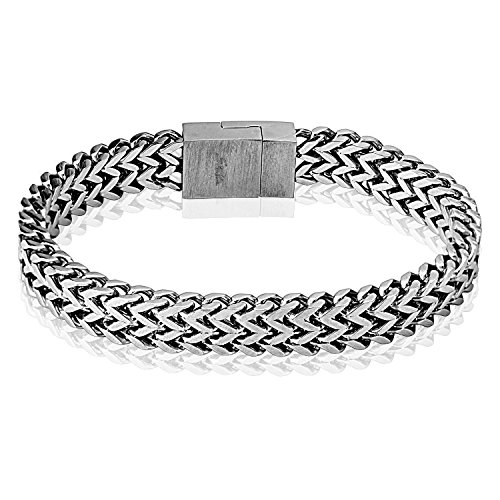 Square Chain and Easy Magnet Locking Square Clasp 316L Stainless Steel Bracelet
