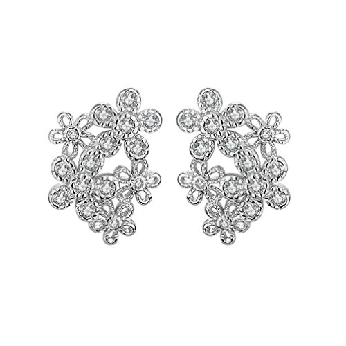 XIEXIE Women's Stud Earrings AAA Cubic Zirconia Circular Dangling Style Costume Jewelry Cubic Alloy Flower Geometric Jewelry , silver , one size (Zirconia Circular Earring)