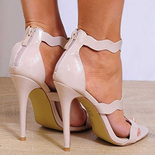 Dames Nues Brevets Cheville Strappy Bracelet Bout Ouvert Stiletto Chaussures Hauts Talons