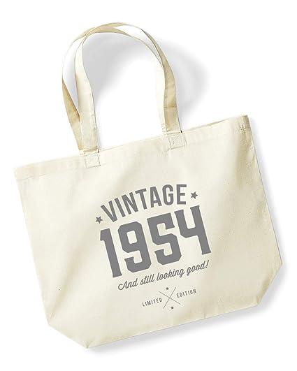 65th Birthday 1954 Keepsake Gift Looking Good Ladies Shopping Bag Present Tote Idea Natural Amazoncouk Kitchen Home