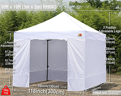 ABCCANOPY 10 x10 Pop Up Canopy Commercial Event Canopy Market Stall Canopy Booth Outdoor Trade Show Booth With Wheeled Carry Bags by abccanopy (Image #7)