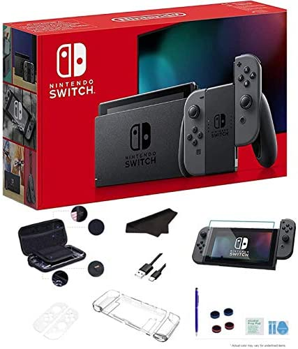 "Newest Nintendo Switch 32GB Console with Gray Joy-Con, 6.2"" Multi-Touch 1280x720 Display, WiFi, Bluetooth, HDMI and GalliumPi Deluxe 16-in-1 Bundle"