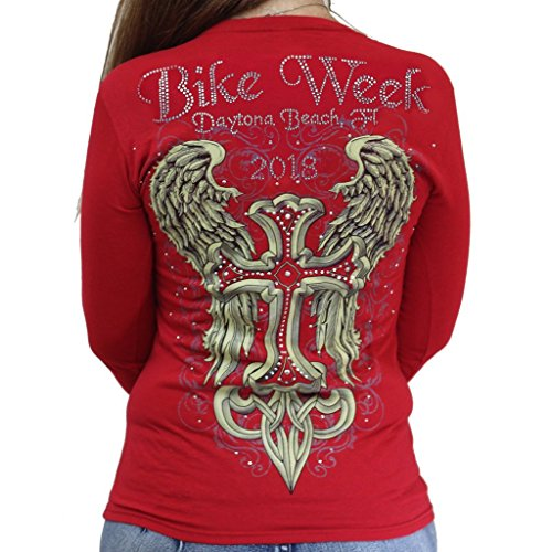 2026 Bike Week Daytona Beach Rhinestone Celtic Cross Wings Long Sleeve (Red Celtic Cross)