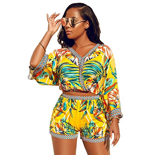 Women Boho Floral Print Romper Jumpsuit Summer Sexy 2 Piece Top Shorts Set Outfits Yellow