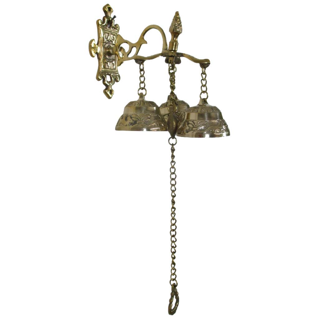 INsideOUT Antique Style Shopkeepers Triple Bell ~ Brass Store Doorbell