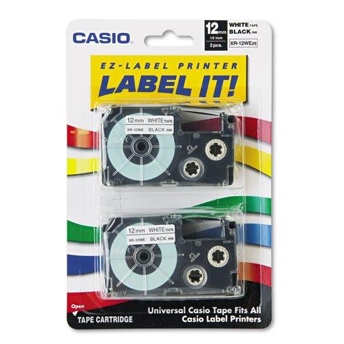 Cassette Label Maker - Tape Cassettes for KL Label Makers, 12mm x 26ft, Black on White, 2/Pack