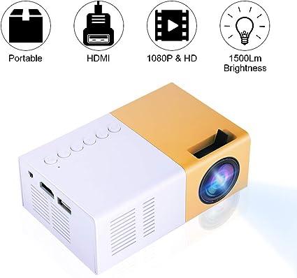 Tonysa Mini Beamer Tragbarer 1500 Lumen Heimkino LED Projektor 1080P HD Home Theater Projektor mit HDMI AV VGA USB Micro SD f/ür Unterhaltungsst/ätten//Heimkinos//Freien usw.