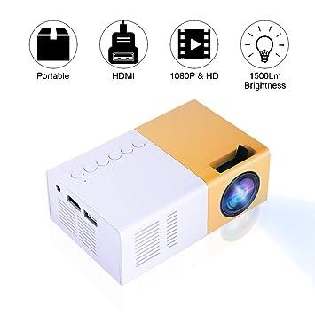 Bewinner Proyector Mini LED, Proyector LED Portátil HD Compatible 1080P HDMI VGA AV USB,Reproductor Multimedia para Recreación al Aire Libre, Lugares ...