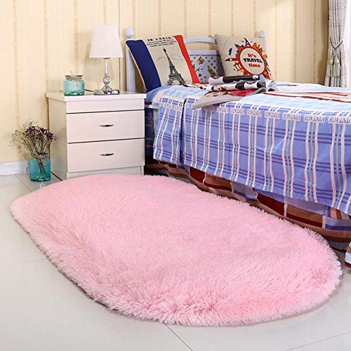 Noahas Ultra Soft 4.5cm Velvet Bedroom Rugs Kids Room Carpet Modern Shaggy Area Rugs Home Decor 2.6' X 5.3', Pink
