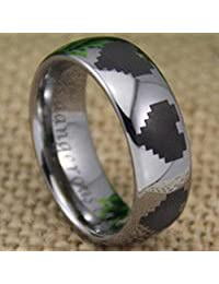 Tungsten Band with Domed Edge Legend of Zelda Hearts Logo Ring