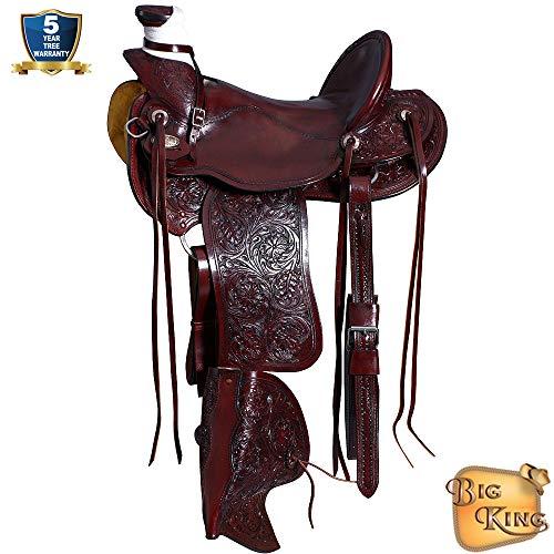 16'' HILASON Big King Western Wade Ranch Roping Cowboy Trail Saddle Mahogany