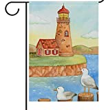 Wamiki Welcome Autumn Fall House Flags 28 x 40 Double Sided, Lighthouse Red Cottage Seagulls Coastal Beach Seasonal Garden Yard Flag, Harvest Thanksgiving House Outdoor Flag Banner for Home Decor For Sale