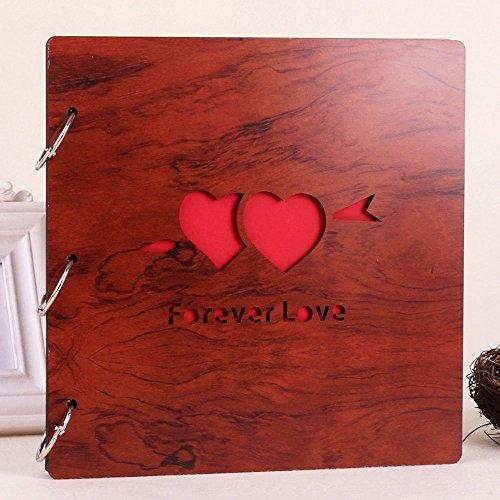 LLTrader Wooden Cover DIY Photo Album Refills Anniversary Scrapbook Loose-leaf Album Best Wedding Valentines Day Gift Forever Love (Valantines Gift)