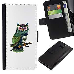 ARTCO Cases - HTC One M8 - Cute Psychedelic Owl - Cuero PU Delgado caso Billetera cubierta Shell Armor Funda Case Cover Wallet Credit Card