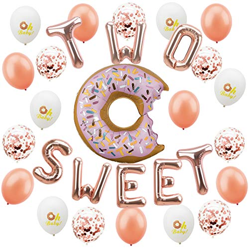 Donut Balloon Kit - 32Pcs - 2nd Birthday Party Decorations - Donut Balloon   Two Sweet Foil Letter Balloons   7Rose Gold Balloon   7Rose Gold Confetti Balloon   7Oh Baby Printed Balloon   1Ribbon