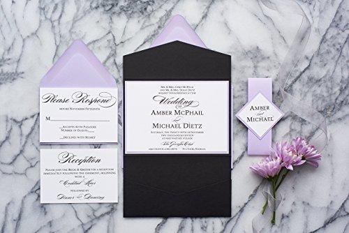 Personalized Elegant Wedding Invitations with Folder, Fancy Wedding Suite, Amber Sample