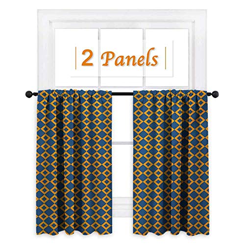 (Flyerer Vintage Room Darkening Wide Curtains Old Fashioned Classical Pattern with Small Squares Chain Mesh Net Simple Tile Waterproof Window Curtain W72 x L63 Inch Orange Dark Blue)