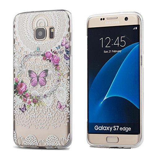 Galaxy S7 Edge Case,3Cworld Ultra Thin Clear Art Pattern Crystal Gel TPU Rubber Flexible Slim Skin Soft Case for Samsung Galaxy S7 Edge (Flower Butterfly - (Anime Giraffe)
