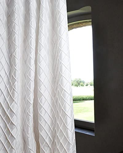 Bu Diamond Pintucked Faux Silk 48″ Wide Lined Rod Pocketed Living Room Window Curtain Panel Drape White