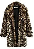 COLINNA Women's Sexy Elegant Vintage Leopard Print Lapel Faux Fur Coat Winter Jacket Outwear