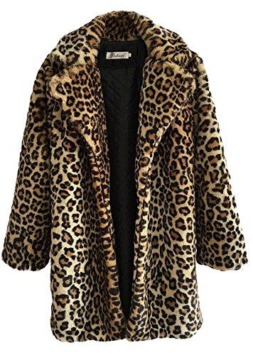 Women's Sexy Elegant Vintage Leopard Print Lapel Faux Fur Coat Winter Jacket Outwear - Leopard Faux Fur Coat