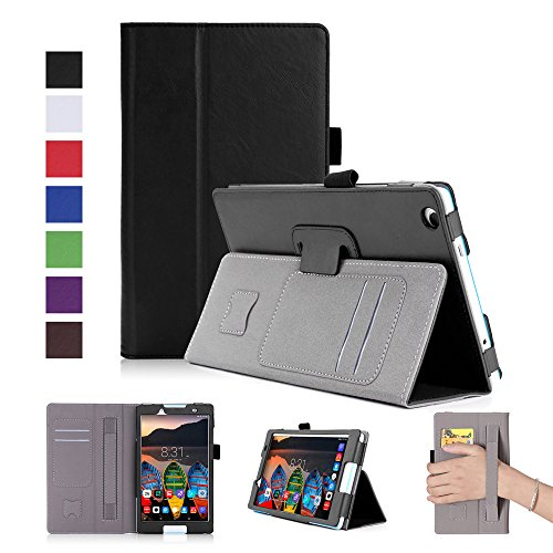 (AICEDA Lenovo Tab 2 A8-50 Case, Wallet Case, Hear Premium PU Leather Flip Case Cover with Card Slots & Kickstand for Lenovo Tab 2 A8-50 - Black)