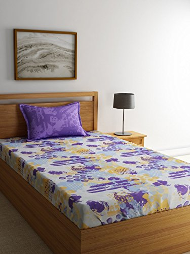 Trident Dusk and Down 144 TC 100% Cotton Single Bedsheet Wit