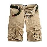 Men's Twill Cargo Shorts - Men Loose Fit Combat