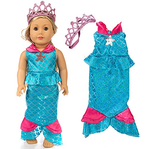 Livoty 18 Inch Doll Clothes Mermaid Princess Costumes Dress for 18 Inch American Toy Girl Doll Accessory Girl's Toy (Blue) -